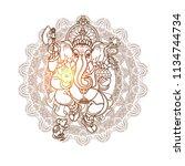 hindu god ganesha. line art... | Shutterstock .eps vector #1134744734
