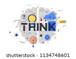 think line flat design banner... | Shutterstock .eps vector #1134748601