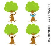 cute tree characters | Shutterstock .eps vector #1134752144