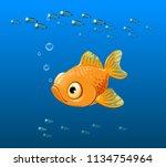 vector illustration of sad fish ... | Shutterstock .eps vector #1134754964