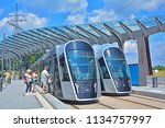 Small photo of LUXEMBOURG CITY, LUXEMBOURG - JULY 7, 2018 - Modern CAF Urbos3 tram standing at the Luxepo state-of-the-art terminus on the brand new Luxembourg tram line in the European district (Kirchberg)