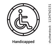 handicapped sign icon vector...   Shutterstock .eps vector #1134760151