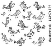 Set Of Funny Birds For Your...