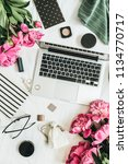 flat lay styled fashion... | Shutterstock . vector #1134770717