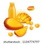 mango fruit and sliced mango... | Shutterstock .eps vector #1134774797