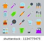 kitchenware sticker icons set.... | Shutterstock .eps vector #1134775475