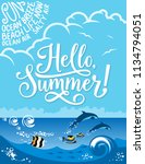 hello summer poster for beach... | Shutterstock .eps vector #1134794051