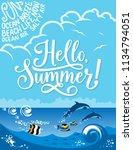 hello summer poster for beach... | Shutterstock .eps vector #1134794051