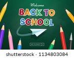 back to school web banner... | Shutterstock .eps vector #1134803084