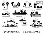underwater diving jobs for... | Shutterstock .eps vector #1134803951