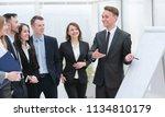 businessman pointing pen on... | Shutterstock . vector #1134810179