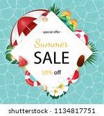 summer banner design with white ... | Shutterstock .eps vector #1134817751