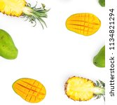 food frame of pineapple and... | Shutterstock . vector #1134821294