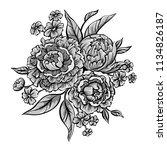 peony flowers vintage ornament. ... | Shutterstock .eps vector #1134826187