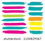 set of hand painted blue brush... | Shutterstock .eps vector #1134829367