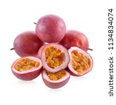 passion fruit isolated on white ... | Shutterstock . vector #1134834074