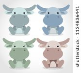 baby animal collection   vector ... | Shutterstock .eps vector #1134836441
