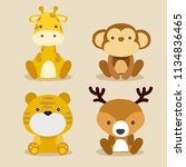 baby animal collection   vector ... | Shutterstock .eps vector #1134836465