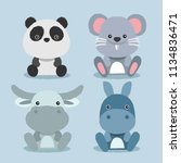 baby animal collection   vector ... | Shutterstock .eps vector #1134836471