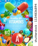 vitamins of fruits and... | Shutterstock .eps vector #1134836894
