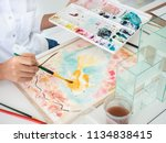 watercolor class.closeup hand... | Shutterstock . vector #1134838415