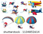 a set of activities in the sky... | Shutterstock .eps vector #1134852614