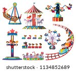 a set of theme park rides... | Shutterstock .eps vector #1134852689