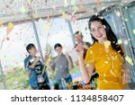 happiness company staff festive ... | Shutterstock . vector #1134858407