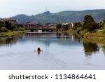 canoeing on the necanium river  ... | Shutterstock . vector #1134864641