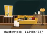 Stock vector living room with cat on sofa vector illustration 1134864857