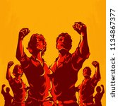 crowd protest fist revolution... | Shutterstock .eps vector #1134867377
