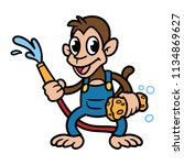 cartoon monkey with hose and... | Shutterstock .eps vector #1134869627