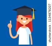 pretty female college graduate... | Shutterstock .eps vector #1134878207