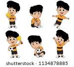 set of kid  winning the... | Shutterstock .eps vector #1134878885
