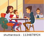 group of creative young people... | Shutterstock .eps vector #1134878924