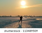 ice skating in the countryside... | Shutterstock . vector #113489509