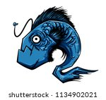 blue anglerfish vector in a bad ... | Shutterstock .eps vector #1134902021