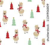 cute alpaca wear red scarf and... | Shutterstock .eps vector #1134906809