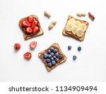 tasty toast bread with banana ... | Shutterstock . vector #1134909494