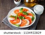 close up photo of caprese salad ... | Shutterstock . vector #1134922829