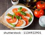 close up photo of caprese salad ... | Shutterstock . vector #1134922901