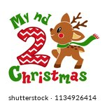 my second christmas. cute... | Shutterstock .eps vector #1134926414