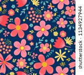 amazing floral vector seamless... | Shutterstock .eps vector #1134927944