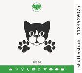cut cat with paws   logo ... | Shutterstock .eps vector #1134929075