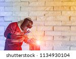 welder man working welding...   Shutterstock . vector #1134930104