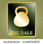gold badge with kettlebell... | Shutterstock .eps vector #1134932855