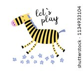 funny zebra runs in flowers.... | Shutterstock .eps vector #1134933104