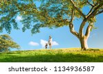 mother walking with her little... | Shutterstock . vector #1134936587