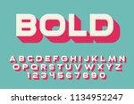 geometric bold font 3d effect... | Shutterstock .eps vector #1134952247