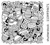cartoon vector doodles coffee... | Shutterstock .eps vector #1134954671
